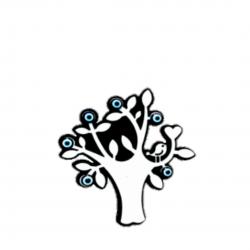 Göz boncuklu magnet-ağaçta kuş